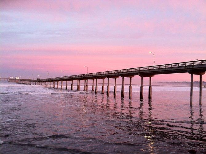Ocean Beach: The sun rises before a high surf advisory.