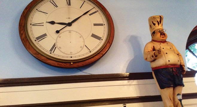 The old station clock on the wall is battered but still keeps time.