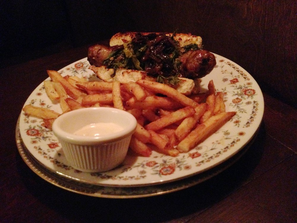 Bratwurst with blackened onions. The frites really hit the spot.