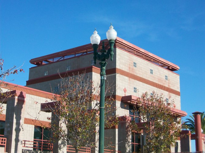 Old-fashioned street lights decorate Civic Center Dr.in National City.