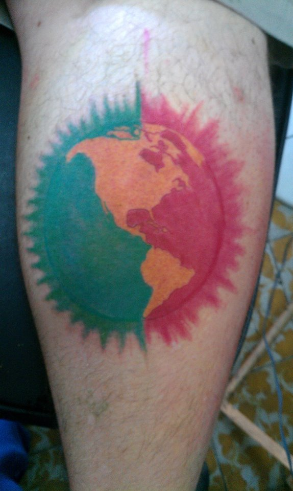 GOT THIS TATTOO REPRESENTING THE CONTINENT IM FROM, SPREADING PEACE TO EVERYONE, ONE LOVE!