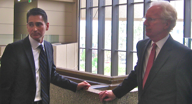 Marc Carlos and Paul Pfingst in the South Bay Courthouse on January 24
