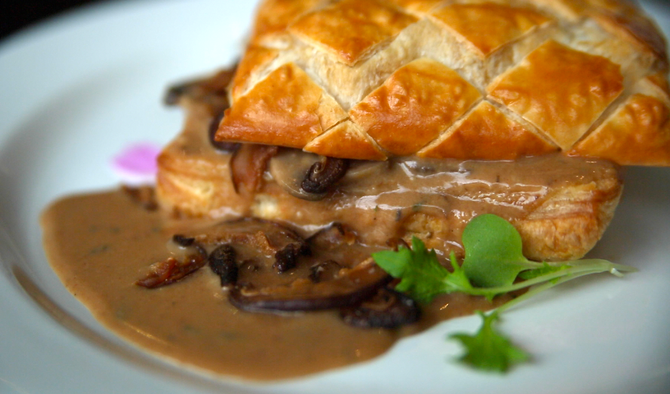 Delectable and savory mushroom and fontina cheese tart.