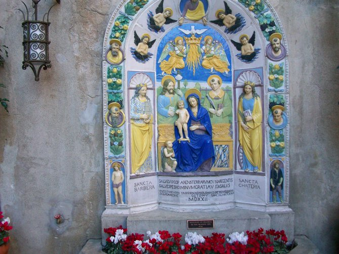 Shrine to Catholic saints at the Mission Inn hotel in Riverside, CA.