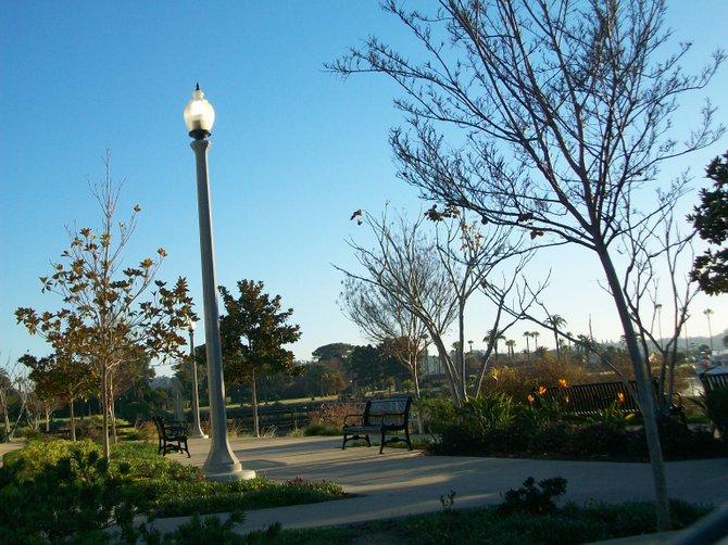 Liberty Station promenade in along San Diego Bay.