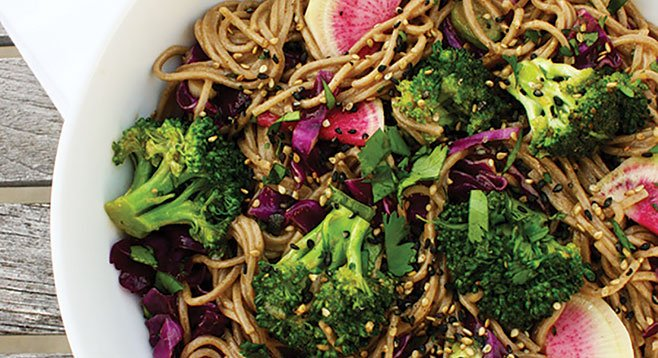 Gingered Soba Noodles with Watermelon Radish, Broccoli & Cabbage