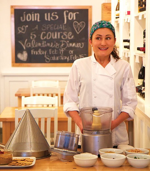 Chef Katie Gluck conducts her vegan cooking classes at the Wine Vault & Bistro on India Street.