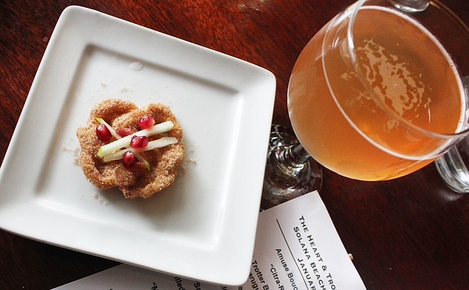 """Pizza Port Solana Beach's """"Double Gobble"""" Cranberry Wheat paired with a cinnamon apple funnel cake at Toronado."""