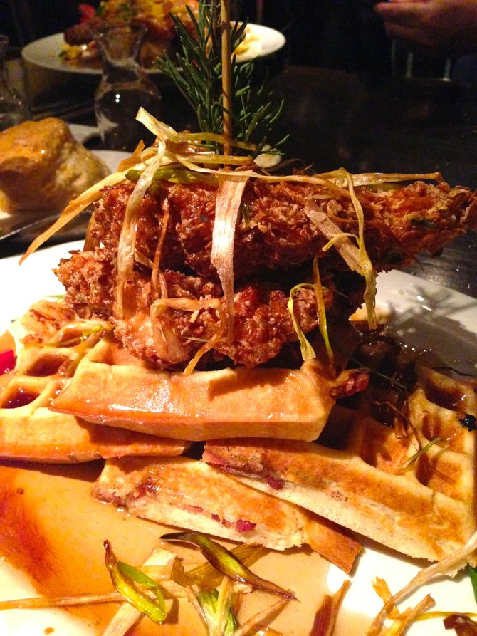 Tower Of Sage Fried Chicken And Bacon Waffles.
