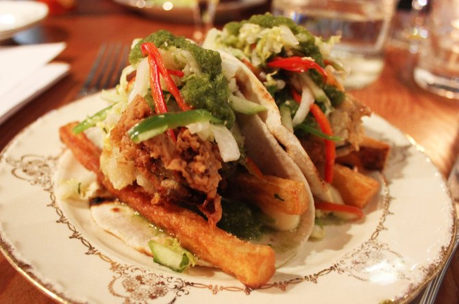 A Creole- and California-ized take on tacos make for a tasty starter at Waypoint Public.