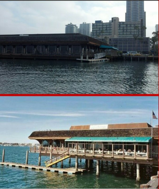 Anthony's, during January 30 king tide (top) and a normal tide