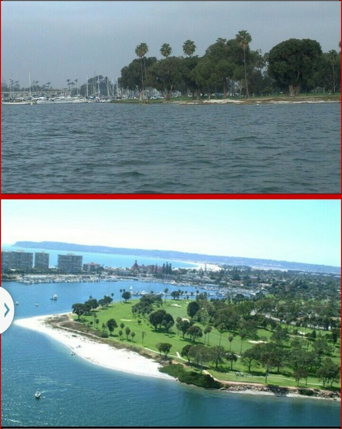 Coronado Golf Course during January 30 king tide (top) and a normal tide
