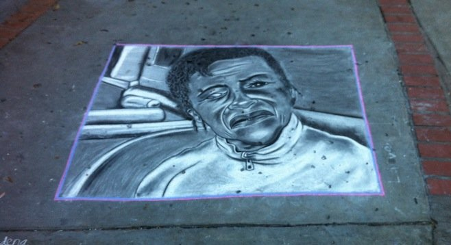Chalk portrait of La Maguana in the park