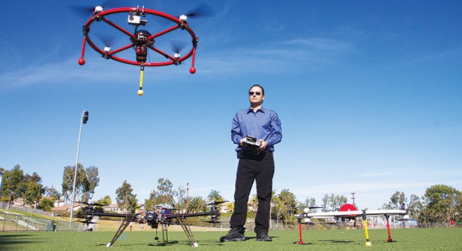 Gus Calderon operates a quadcopter. - Image by Howie Rosen