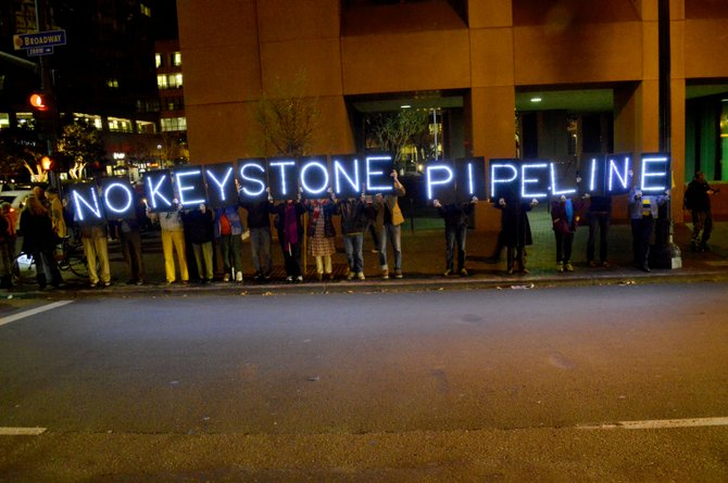 From 350.org No KXL Pipeline vigil, February 3, 2014 at the Federal Building