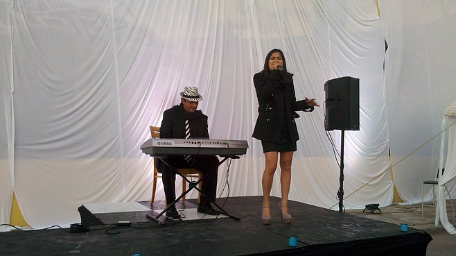 Rivera took the stage with zebra-hat keyboard guy