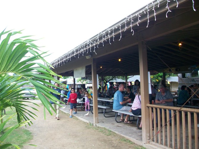 Giovanni's Shrimp Truck in Kahuku has an outdoor dining area that is nearly always full.