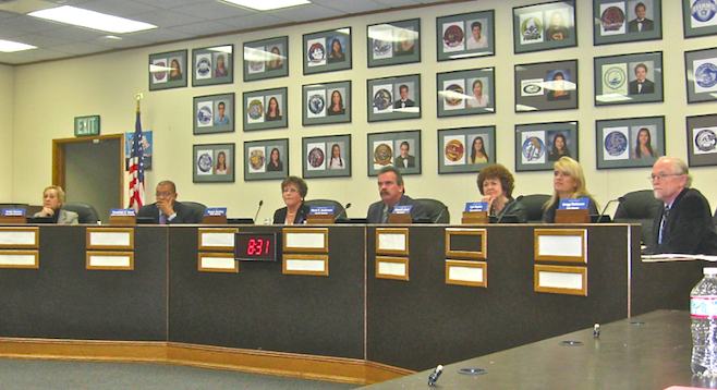 Members of the San Diego County Board of Education on the Sweetwater dais