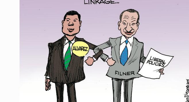 Portion of Steve Breen editorial cartoon published in Feb. 10 U-T