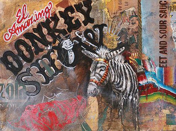 From the exhibit Chicanitas, Jari Werc Alvarez's Donkey Show (2008 mixed media, from the collection of Cheech Marin)