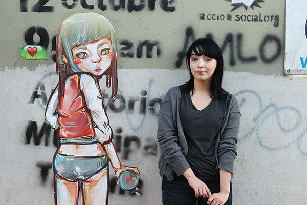 Both street artist Dear and her painted characters wear anime bangs and exude a Lolita-like quality.