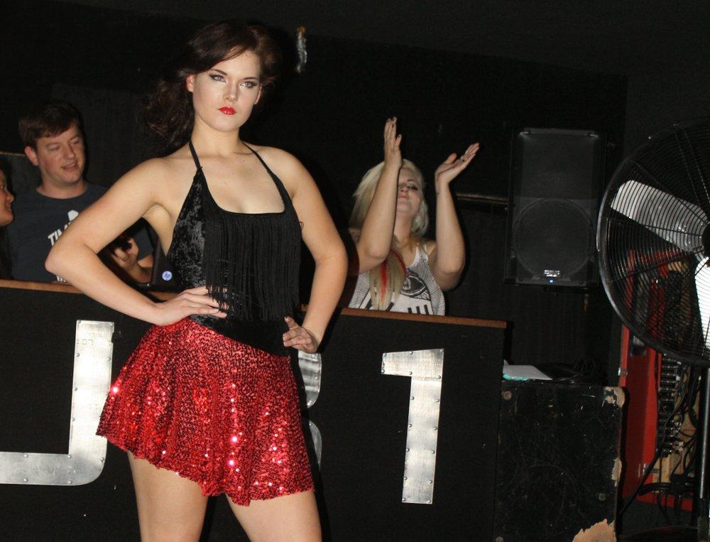 Model wearing Sarra's Petals