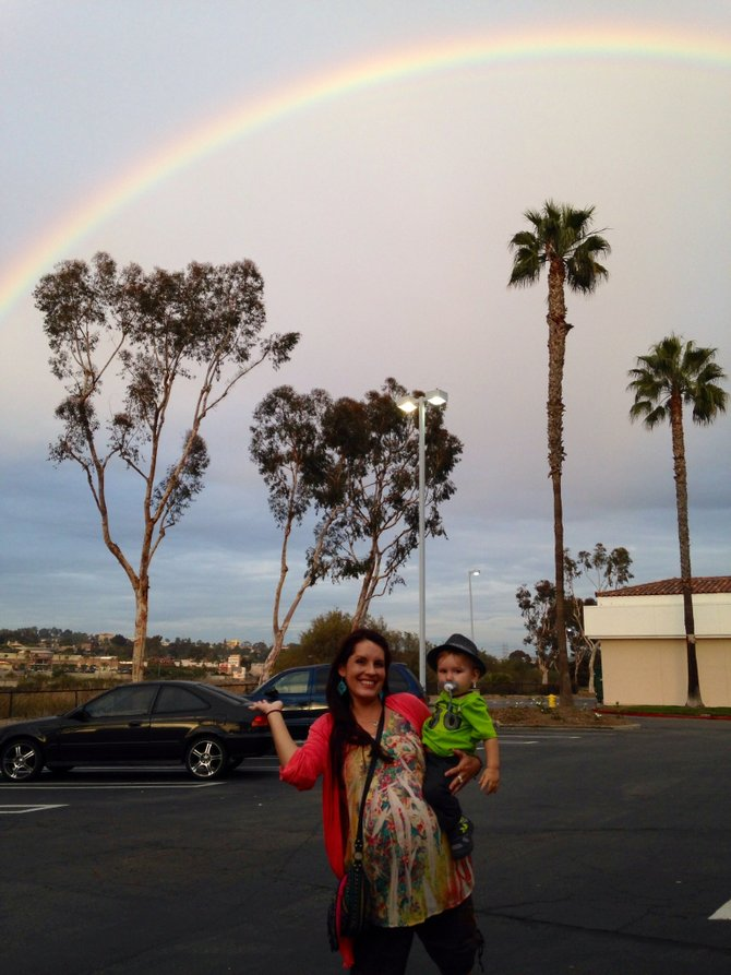Somewhere over the rainbow, or just the Westfield Mall in Carlsbad! Yeah we finally got rain!