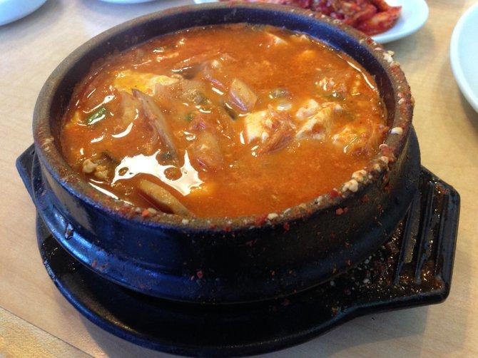 Tofu and kimchi stew.