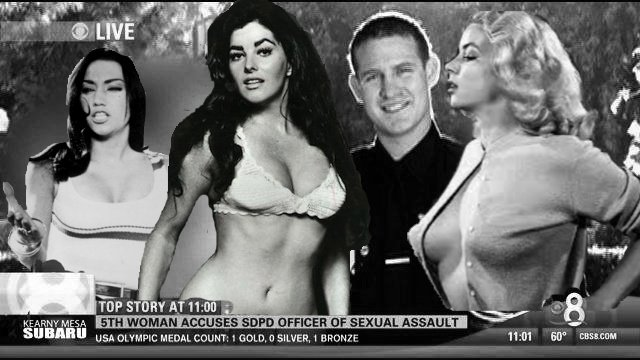 Officer Hays, pictured with three of his accusers, Chesty LaRue, Mamma Mia, and Vivian Vavoom.