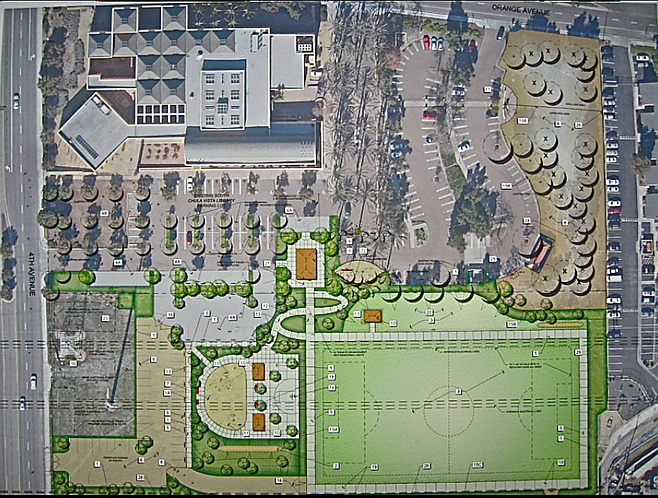Design of park sited at corner of Orange and Fourth avenues
