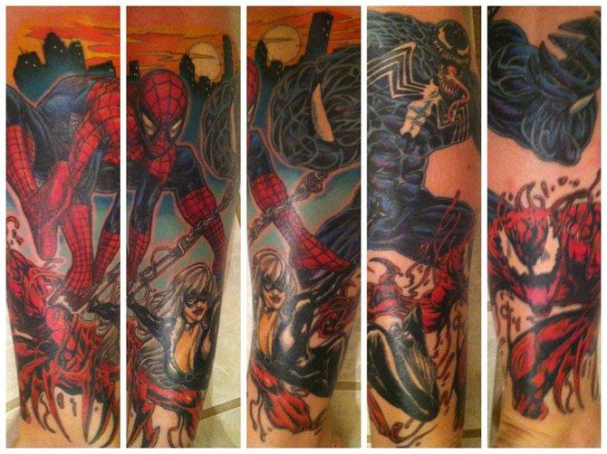 Spider Man Venom Carnage Tattoo: I Got My Spider-Man Themed Half Sleeve Leg Tattoo
