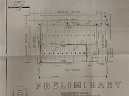 The five 28th St lots (shown on original plat map as 10 25-ft-wide lots, now merged into five). City-owned lots 11 and 12  on Elm St end.
