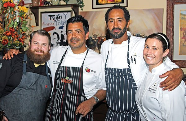 Chad White, Javier Plascencia, Jason Knibb, and Rachael King fed 160 people at the La Plancha pop-up dinner held at Romesco Mexiterranean Bistro.