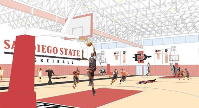 Artist's rendering of basketball training center