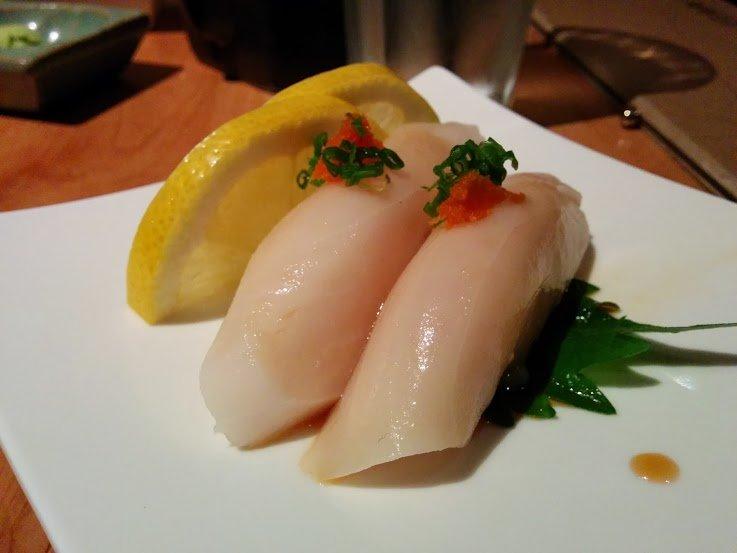 "Escolar, aka ""white tuna"" nigiri"