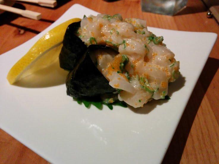 Chopped scallop nigiri