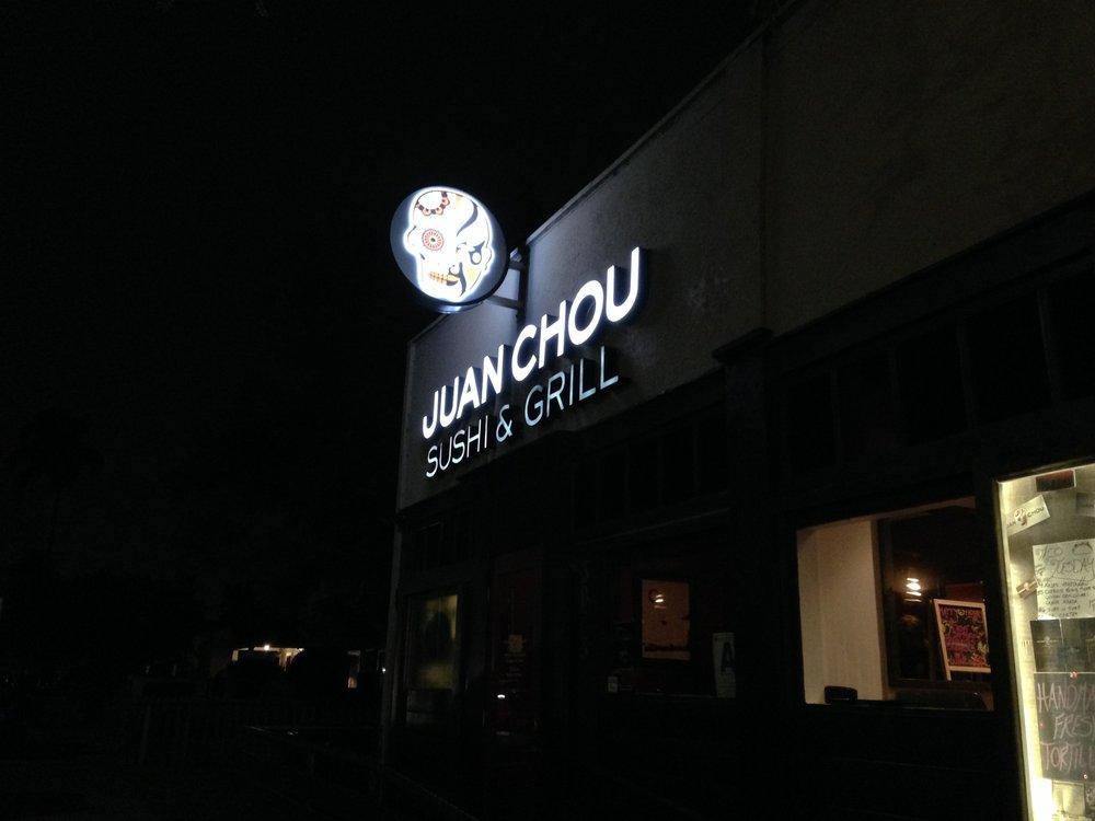 Exterior of Juan Chou at night