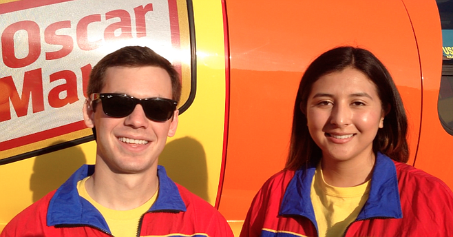 Wienermobile drivers Stephen Hays and Stephanie Corte have been driving around the southwest U.S. for the past eight months.