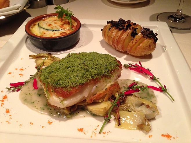 Scrumptious sea bass, with puzzling accompaniments