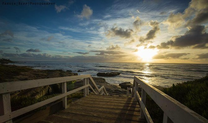 Stairs down to the rocks in La Jolla by Parker Repp Photography