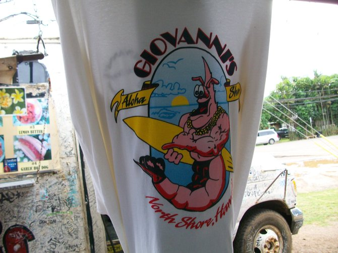 Giovanni's Shrimp Truck T-shirt featured near food truck in the North Shore area of Oahu, Hawaii.