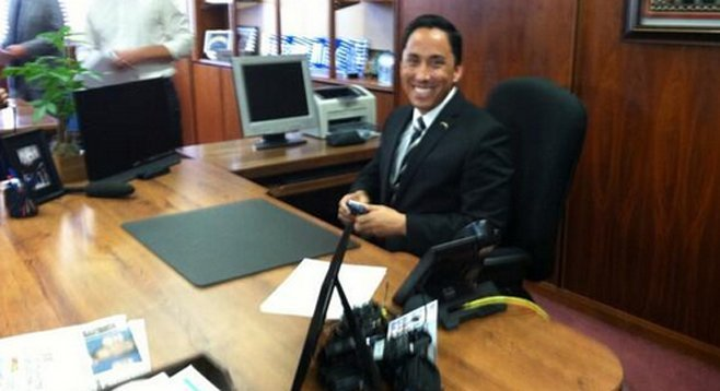 From Todd Gloria's January 8 Twitter feed. Yeah. That's a smartphone in his hands.
