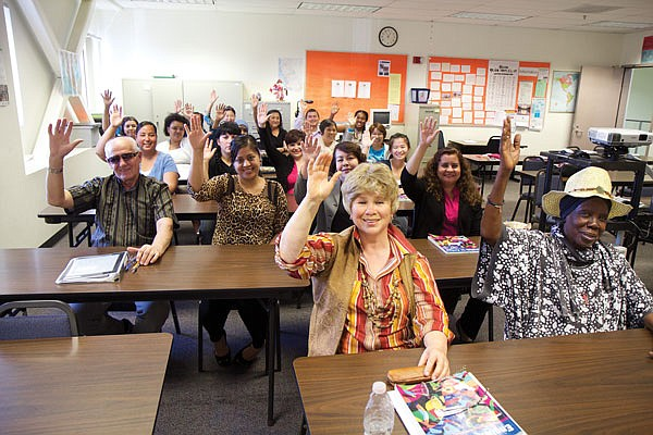 Students at a beginning English class at Continuing Education's Mid-City campus