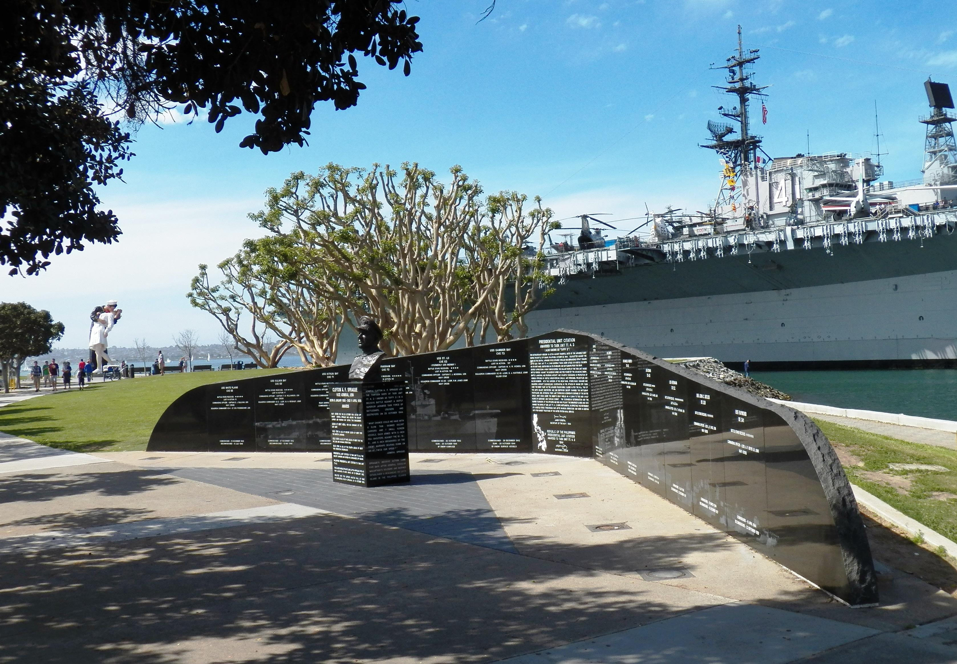 World War II memorial displays awaiting display of the Vietnam Veterans Memorial replica.