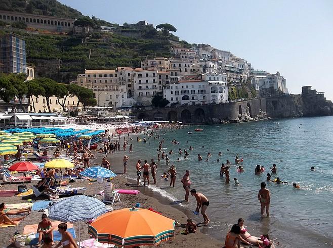 Beachgoing in Amalfi, near Sorrento.
