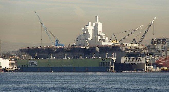 USS Bonhomme Richard in dry dock at NASSCO shipyard