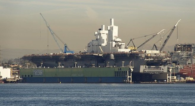 USS Bonhomme Richard in dry dock at NASSCO shipyard - Image by Wikipedia