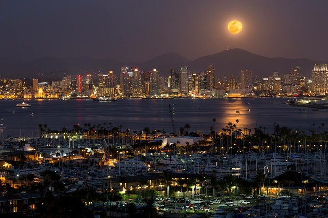 The moon over Downtown San Diego by Brian Connolly.