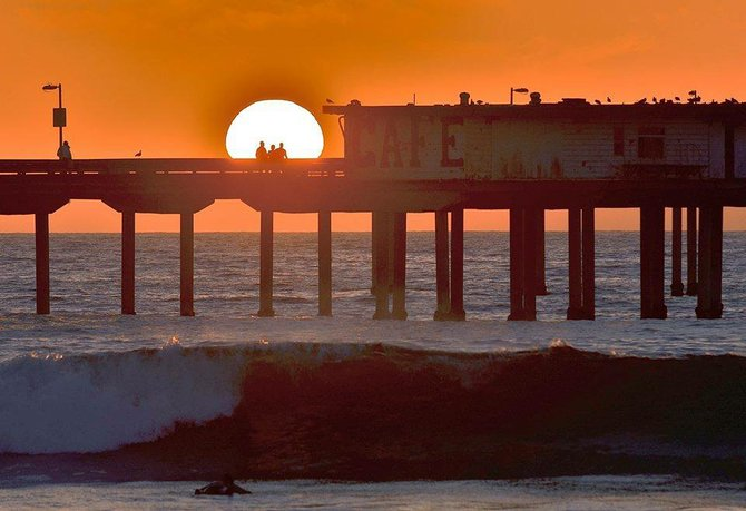 OB Pier at Sunset by San Diego Scenic Photography.