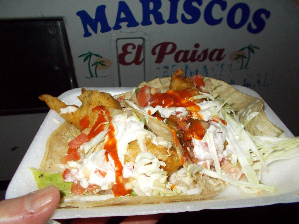 Fish taco, shrimp taco, $2.75 total